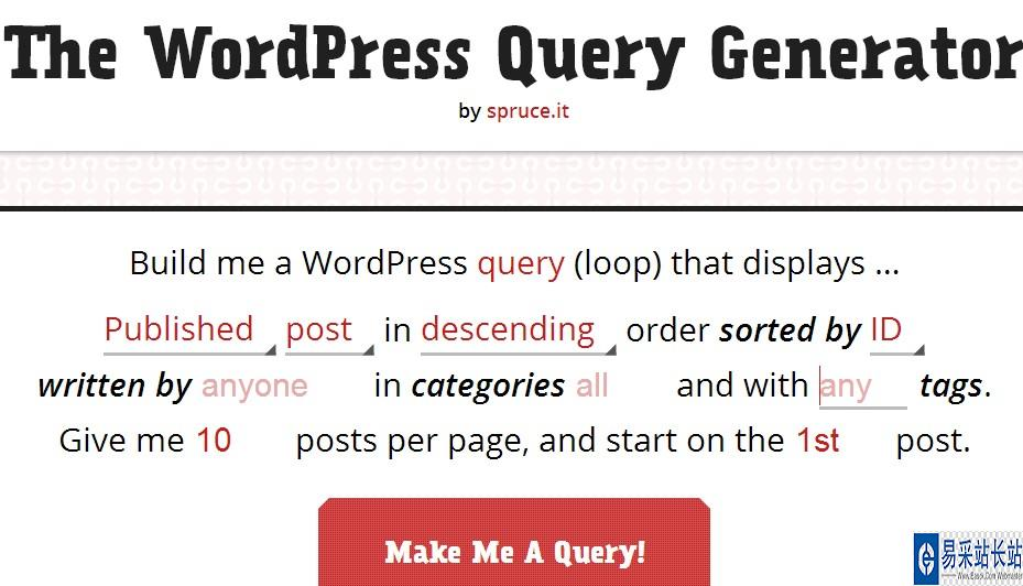 wordpress WP_Query在线快速生成器